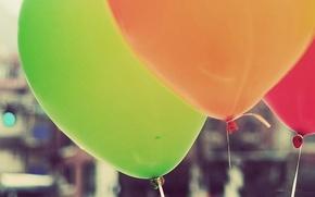 Picture balls, macro, orange, red, green, background, balls, Wallpaper, ball, rope, air, bright, full screen, HD …