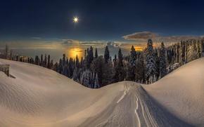 Wallpaper sunset, mountains, snow