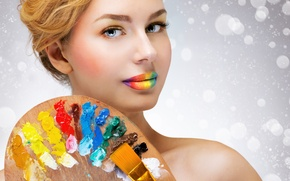 Picture look, color, girl, mood, paint, rainbow, lips, brush