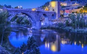 Picture the sky, bridge, lights, river, tower, home, the evening, slope, Spain, Toledo, Toledo, Bridge of …