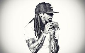 Picture microphone, dreadlocks, baseball cap, singer, rap, RAP, Lil wayne