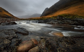 Picture the sky, mountains, clouds, river, stones