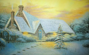 Picture winter, snow, traces, the fence, picture, tree, Painting, cottage, Thomas Kinkade, picture, Thomas Kinkade, Christmas …