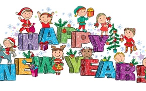 Picture children, toys, tree, gifts, Happy New Year