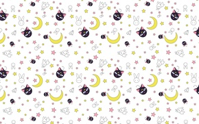 Wallpaper cat, the moon, texture, neko, Bunny