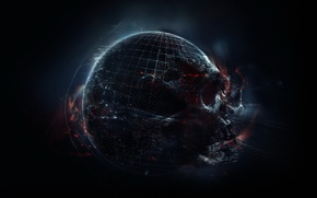 Picture darkness, Apocalypse, skull, planet, black hole, space