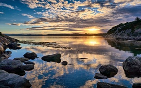 Picture sunrise, stones, shore, Norway, Norway, Rogaland, Førdefjord