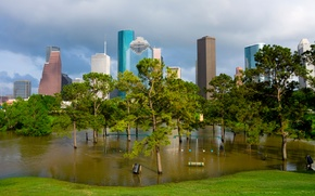 Picture grass, water, trees, Park, swing, skyscrapers, USA, benches, lawn, Houston, flooded