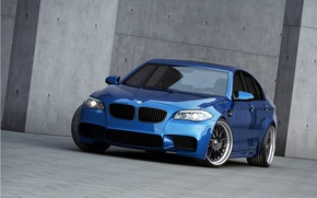 Picture blue, black, bmw, BMW, wheels, drives, black, blue, f10, headlights, tinted