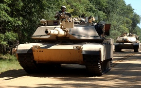 Picture road, army, USA, tanks, troops, A column of tanks, Abrams