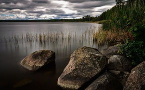 Picture lake, stones, landscapes, Nature, lake, stones