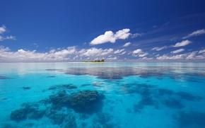 Wallpaper clouds, island, The ocean