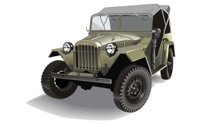 Picture retro, vector, military, four-wheel drive, The GAZ-67