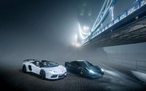 Picture Lamborghini, Ferrari, 458, Bridge, Night, Aventador, Fog, GFWilliams Photographer