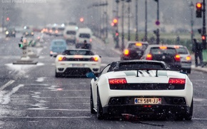 Picture road, snow, Lamborghini, traffic light, white, gallardo, ferrari, cars, f430