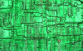 Wallpaper background, circuit board, green