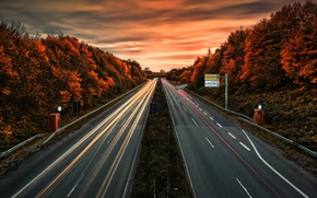Picture road, autumn, lights