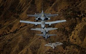 Picture flight, F-16, fighters, A-10, F-15, F-22
