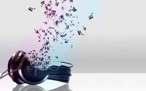 Picture notes, music, headphones