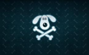 Picture face, green, background, texture, bone, bones, Gromit