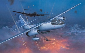 Picture aircraft, war, airplane, aviation, ww2, dogfight, lancaster, night fighter