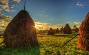 Picture The sky, Field, Grass, Dawn, Hay, Landscape, Romania, stack