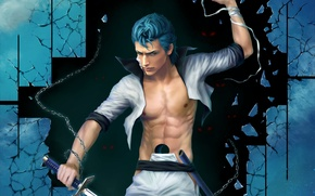 Picture the wreckage, sword, art, guy, chain, Zetsuai89, bandage, grimmjow jeagerjaques, BLEACH