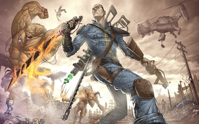 Picture weapons, Apocalypse, monster, the bandits, male, ruins, Fallout, mutant