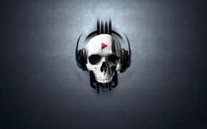 Picture SKULL, MUSIC, HEADPHONES, PLAY