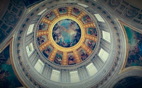 Picture windows, angels, Christian, paintings, church, ceiling, Christianity