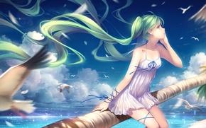 Picture sea, the sky, girl, clouds, shore, seagulls, anime, art, vocaloid, hatsune miku, tidsean