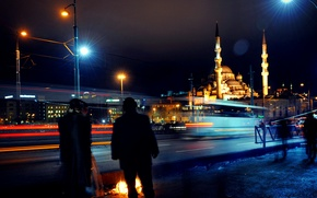 Picture night, excerpt, Istanbul, Turkey, night, Istanbul, Mosque, exposure, new mosque, New Mosque