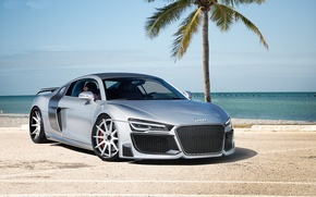 Picture Palma, the ocean, Audi, audi, silver, sports car, silvery