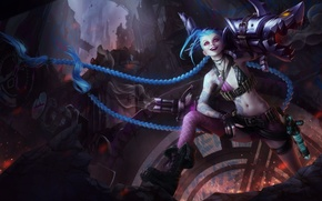 Picture girl, game, weapons, art, lol, league of legends, jinx
