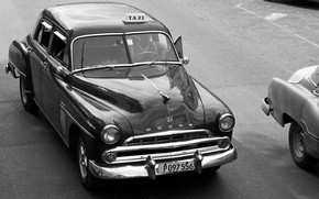 Picture retro, black and white, Dodge, taxi, vintage, Havana, 1960s