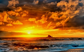 Picture sea, beach, sunset, rocks