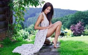 Picture grass, girl, model, playboy, dress, brunette, girl, green, leg, lawn, model, Mila K, Michaela Isizzu, …