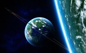 Wallpaper satellite, ring, planet, stars, the atmosphere