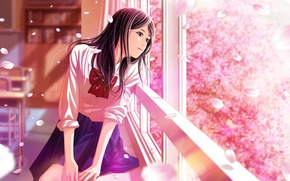 Picture class, schoolgirl, bow, desks, window, cherry blossoms, flowering in the spring