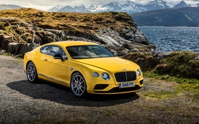 Picture yellow, Bentley, Continental, Bentley, continental, V8 S, 2015