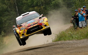 Picture trees, jump, dust, ford, gravel, rally, the audience, fiesta, super 2000, karl kruuda, wrc2