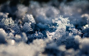 Wallpaper macro, snow, background, winter, snowflakes, photo, Wallpaper