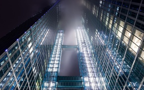 Picture glass, clouds, light, lights, the building, view, Windows, skyscraper, Germany, haze, Frankfurt