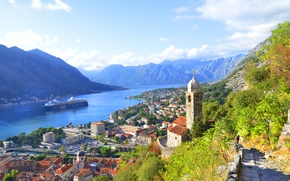 Picture landscape, the city, wall, home, Bay, Montenegro, montenegro, to, old 5крепость, Moore