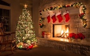Wallpaper decoration, tree, Christmas, gifts, New year, fireplace