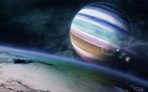 Wallpaper planet, gas giant, the rainbow feel