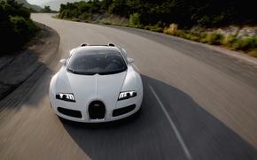 Picture road, the sun, veyron, bugatti