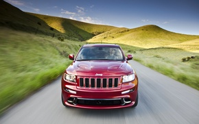 Picture Red, The hood, Hills, Lights, Driver, Jeep, The front, Dog, GRANDCHEROKEE