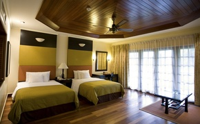 Picture design, style, room, bed, interior, window, curtains, apartment, bedroom