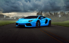 Picture clouds, Lamborghini, supercar, blue, Aventador, hq Wallpapers